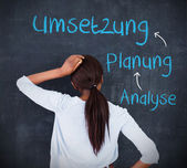 Woman looking at a chalkboard with success terms in german — Stock Photo