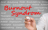 Hand writing german words about burnout syndrome — Stock Photo