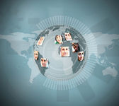 Profile pictures placed on a earth graphic — Stock Photo