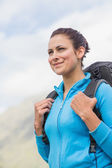 Smiling female hiker with backpack — Stock Photo