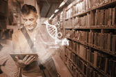 Mature student using futuristic hologram to learn biology from his tablet — Stock Photo