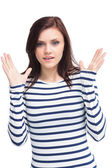 Surprised young brunette posing — Stock Photo
