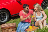 Cheerful couple sitting on the grass having picnic together — Stock Photo