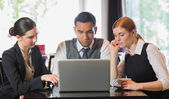 Business people working together with laptop — Stock Photo