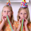 Stock Video: Twin sisters at party