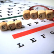 Eye test dice falling on eye test with reading glasses — Stock Video