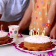 Family blowing out candles at a birthday party — Stock Video #31528533
