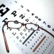 Black reading glasses falling onto eye test — Stock Video