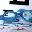 Swimming goggles falling onto eye test — Stock Video