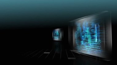 3D screens showing computing scenes — Stock Video