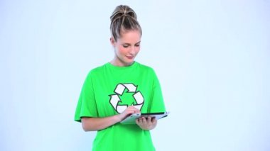 Thoughtful environmental activist using a digital tablet — Stock Video