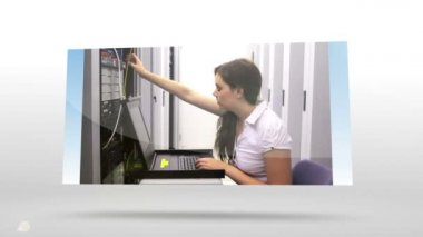 Screens showing technicians adjusting servers — Stock Video
