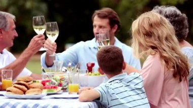 Family clinking wine glasses — Stock Video