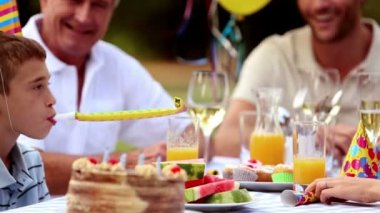 Cheerful family celebrating a birthday — Stock Video