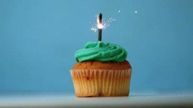 Sparkler burning on a birthday cupcake — Stock Video