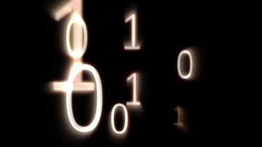 Digital animation of binary codes floating — Stock Video