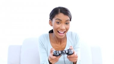 Woman playing video games — Stock Video