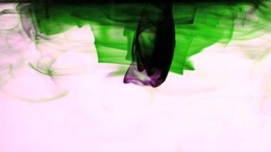 Roze en groene inkt zwenken in water op witte achtergrond — Stockvideo