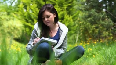 Woman sitting on grass writing on a notebook — Stock Video