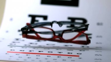 Two pairs of glasses falling onto eye test — Stock Video