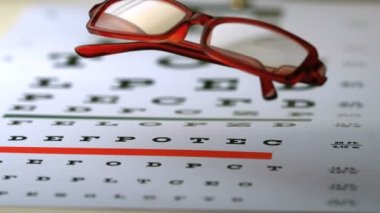 Reading glasses falling on an eye test — Stock Video