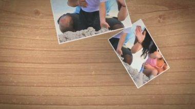 Fotos instantáneas cayendo y mostrando una familia en la playa — Vídeo de Stock