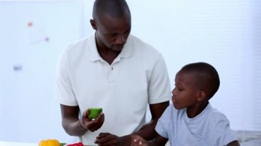 Father and his son choosing vegetables — Stock Video