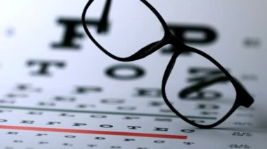 Hipster glasses falling onto eye test — Stock Video