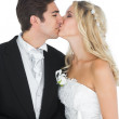 Young married couple posing kissing each other — Stock Photo #33435883
