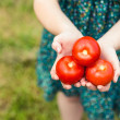 Woman holding some tomatoes — Stock Photo