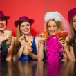 Happy friends at a hen night drinking cocktails — Stock Photo