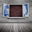 Open window on wall — Foto de Stock