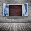 Stock Photo: Open window on wall