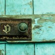 Close up of lock on blue door — Stock Photo