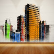 Picture of colorful city painted on white wall — Stock Photo