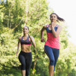 Two fit young friends jogging — Stock Photo