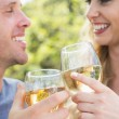 Young couple toasting with white wine — Stock Photo #33437617