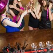 Happy gorgeous women having hen party — Stock Photo