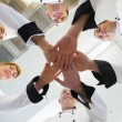 Stock Photo: Chefs joining hands in circle