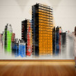 Businesswoman painting colorful city on wall — Stock Photo