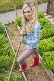 Blonde young woman working with a rake — Foto Stock