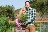 Proud couple posing in a garden holding a shrub — Stock Photo