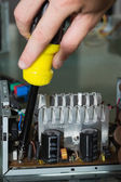 Close up of hands repairing hardware with screw driver — Stock Photo