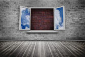 Open window on wall — Stock Photo