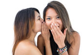 Pretty woman telling something to her sister — Stock Photo