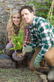 Happy couple crouching in their garden — Stock Photo