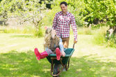 Happy man pushing his laughing girlfriend in a wheelbarrow — Stock Photo