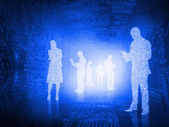 Glowing silhouettes of business people — Stock Photo