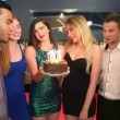 Well dressed friends celebrating birthday together — Vídeo de stock