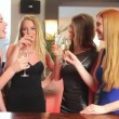 Well dressed friends drinking champagne together — Stock Video
